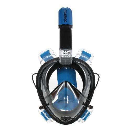 Second Hand TOMSHOO Einfaches Schwimmen Schwimmen Schnorchel Maske 180 ° Panorama Full Face Design mit Action Camera Halterung für GoPro