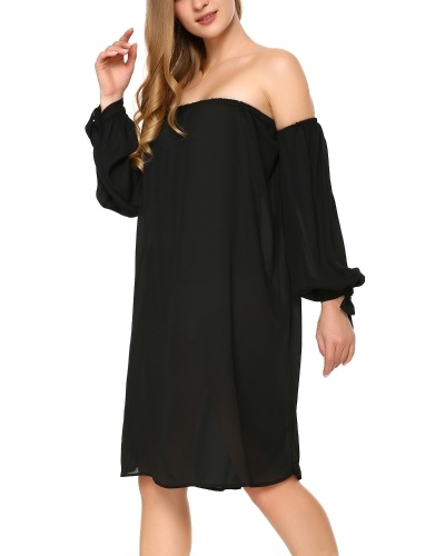 Women's Casual Off The Shoulder Loose Long Dress Black S