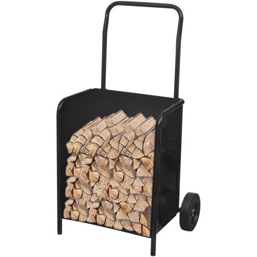 Porta legna da ardere con carrello