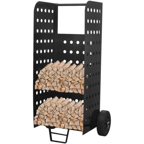 Porta legna da ardere con carrello con fori decorativi