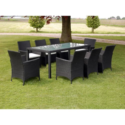 17 pc table and chairs giadino black polirattan