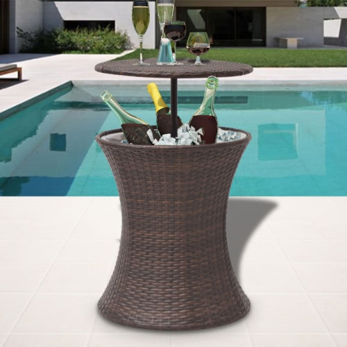 Ice Cooler Seau Table Poly Rotin Brown