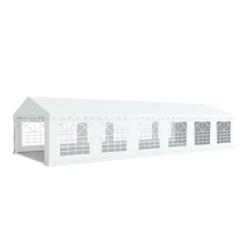 Tente de réception 5x12m tubes 38mm bâche PVC 480g/m2 blanc ignifugée M2