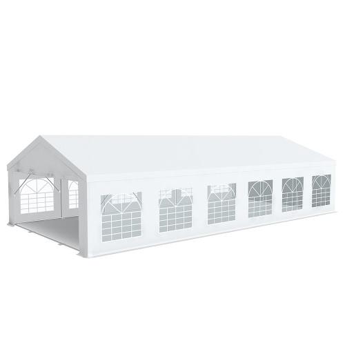 Tente de réception Barnum Pro 6x12m PVC 520g/m² tubes 76mm Blanc ignifugé M2