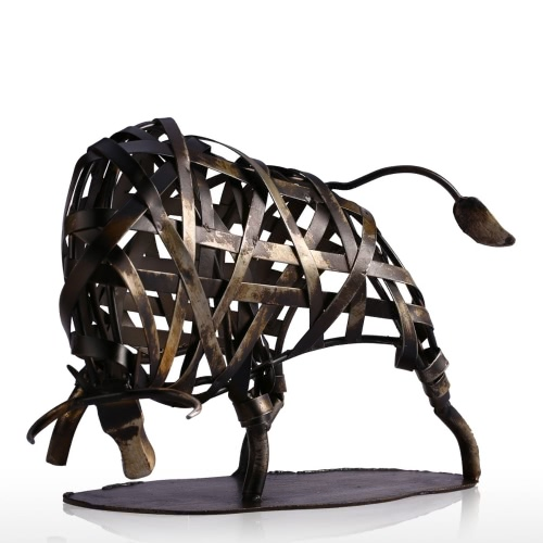 Tooarts Iron Braided Cattle Iron Sculpture Vigorous Unique Design