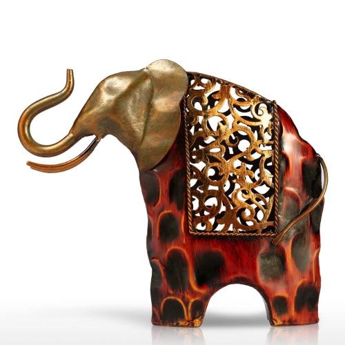 Tooarts escultura tallada de hierro de elefante decoración del hogar rojo y oro