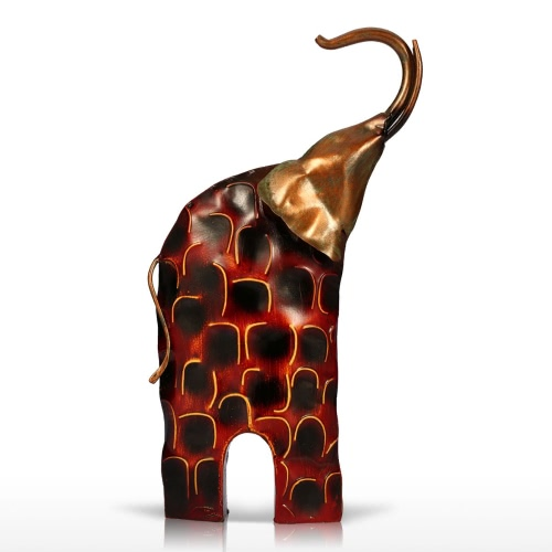 Tooarts Raise Head Elephant Metal Sculpture Gold & Red