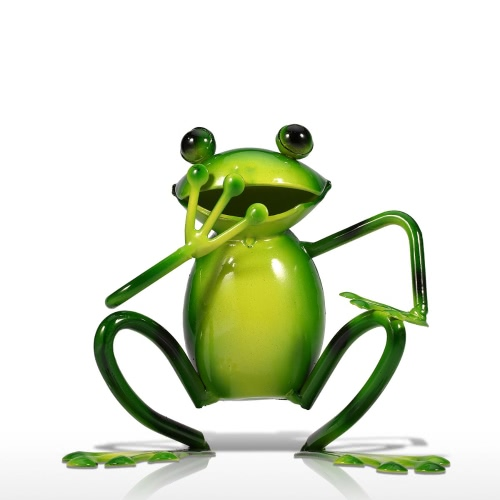 Tooarts Laughing Frog Arte de hierro Animal Sculp Home Decor