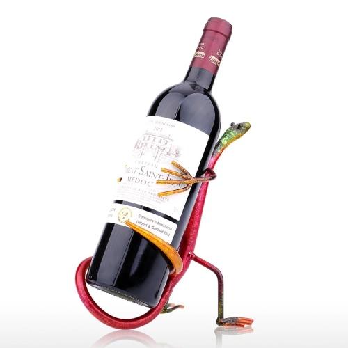 Tooarts Gecko Wine Rack Escultura de Hierro