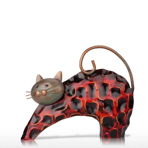 Tooarts Black Iron Cat Metal Skulptur Home Dekoration