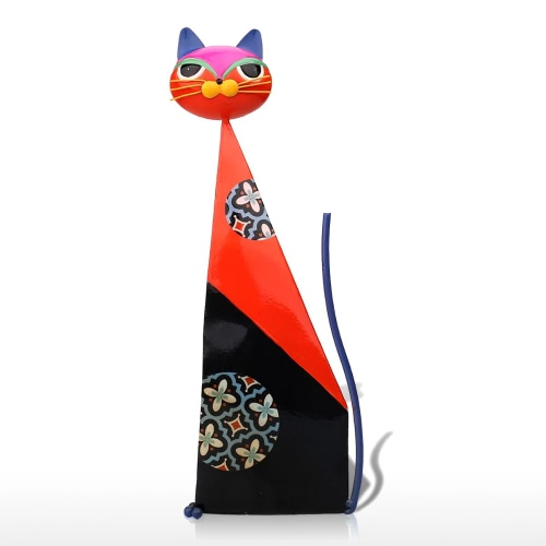 Tooarts Fortune Cat Sculpture (Red) Metal Sculp Home Decor