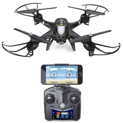 聖なる石HS200 FPV RCドローン、HD Wifiカメラライブフィード2.4GHz 4CH 6軸ジャイロクワッドコプター、高度保持、重力センサー、ヘッドレスモードRTFヘリコプター、カラーブラック