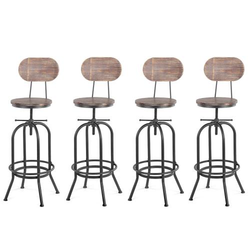 Lot de 4 chaises de bar de style industriel - IKAYAA