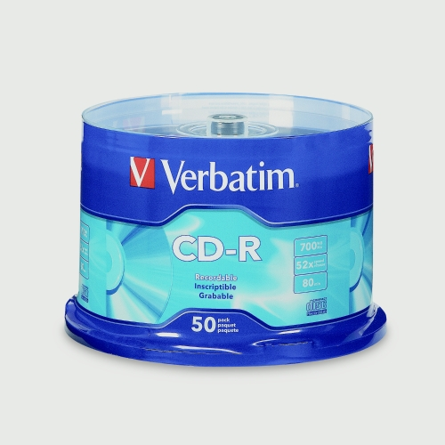 Verbatim CD-R 700MB 80min 52X Branded Recordable Media Disc 50PK Spindle Compact Write Once Data Storage 94691