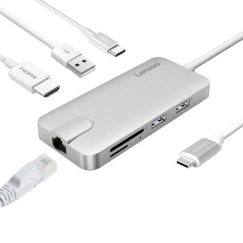 Adapter USB typu C USB typu C z portem 4K HD Port Gigabit Ethernet Port ładowania USB 2 Port USB 3.0 i 1 port USB 2.0 Czytnik kart SD / TF
