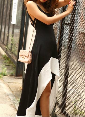 Sexy U Neck Cut Out Backless Sleeveless High Low Hem Women��s Maxi Dress