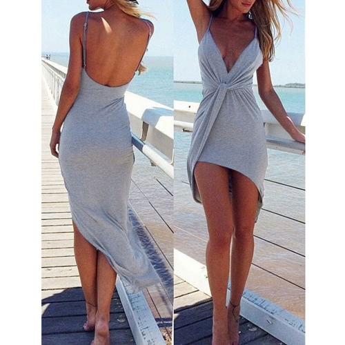 Nuevo Sexy mujer vestido torcedura profunda V cuello asimétrico sin espalda verano playa discoteca vestido gris/rojo