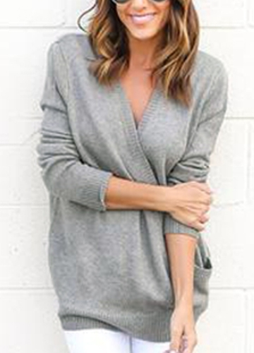 Casual Plunge V Neck Long Sleeve Solid Color Loose Sweater