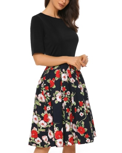 76a9a5ead977 Mixfeer Women's Vintage Midi Dress Floral Scoop Neck Short Sleeve A-line Cocktail  Party Swing Dress with Pockets