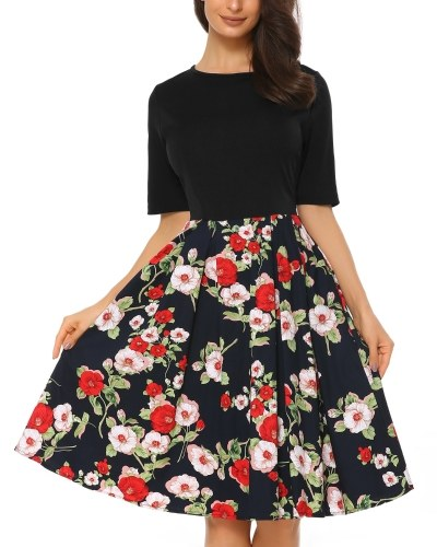 Mixfeer Women's Vintage Midi Dress Floral Scoop Neck Short Sleeve A-line Cocktail Party Swing Dress with Pockets