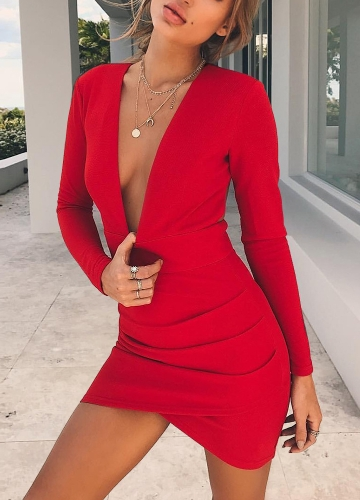Sexy Women Backless Deep V-Neck Bandage Long Sleeve Crisscross Hem Bodycon Mini Dress