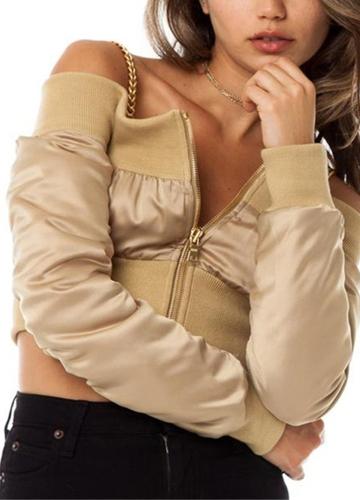 Off Shoulder Jacket Coat Long Sleeve Zipper Casual Midriff Baring Crop Top