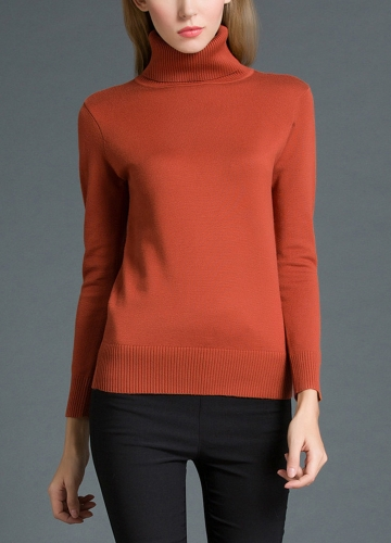Women Winter  Sweater Knitwear Turtle Neck Ribbed Knitted Pullover Tops