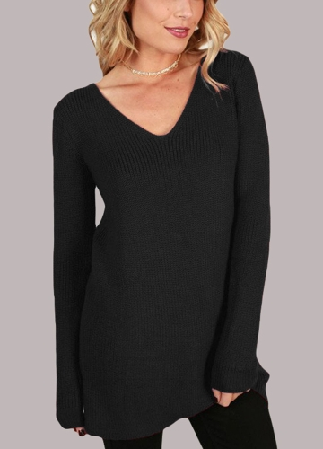 Lace Up V Neck Ribbed Long Sleeve Sweater