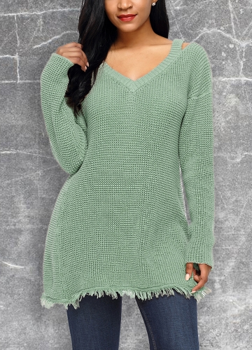 Women Deep V Neck Hollow Out Dropped Shoulder  Knitted Pullovers Sweater