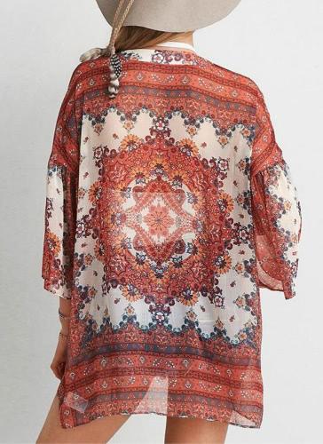 Купить Boho Chiffon Floral Print Front Open Women's Loose Kimono