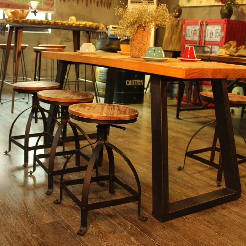 iKayaa Swivel Pinewood Bar Stool Rustic Kitchen Dining Chair