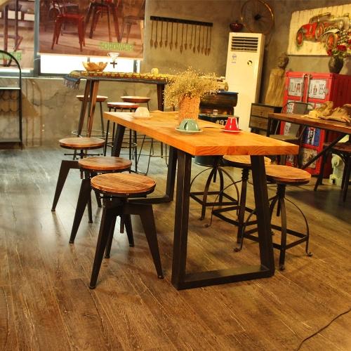 iKayaa Chaise Haute ajustable en bois pin naturel, pour cuisine, dîner, style industriel