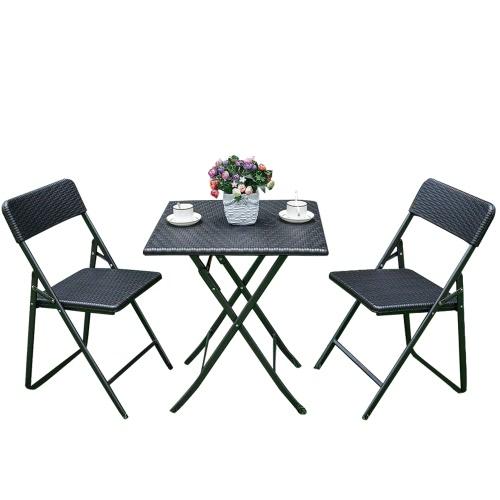 iKayaa – Ensemble table et chaises pliant style résine tressée