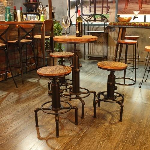iKayaa Pinewood Top Round Pub Bar Table