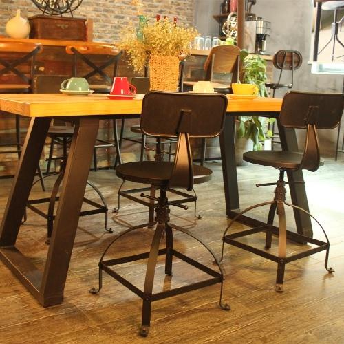 iKayaa Metal Bar Stool Ajustable Height Swivel Kitchen Dining Chair