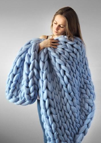 Короткое трикотажное ручное толстое одеяло
