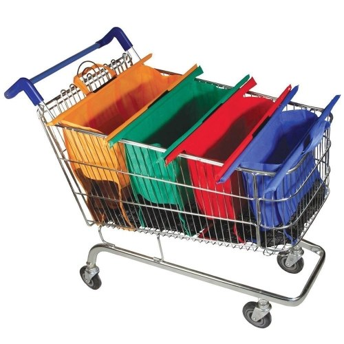 4pcs/Set Thicken Cart Trolley Supermarket Shopping Grocery Grab Storage Bags