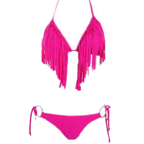 Novo Sexy Tassel Fringe biquini Swimwear Beachwear maiô frente-única gravata triângulo Top rosa