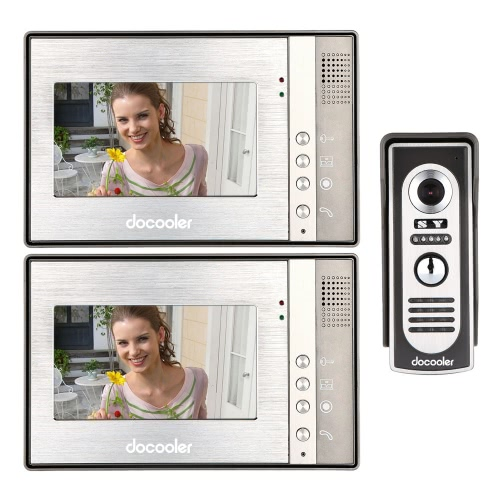 Docooler 7 Inch Video Door Phone Doorbell Intercom Kit 1-camera 2-monitor Night Vision