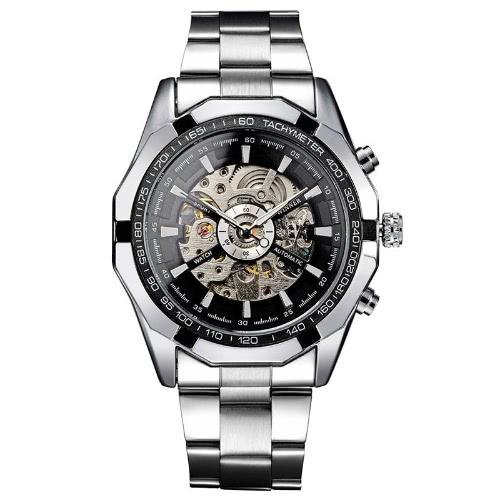 Homens de marca de alto luxo auto-liquidação relógio de pulso de discagem vencedor moda relógio mecânico automático esqueleto transparente
