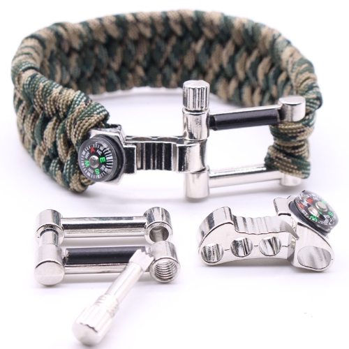 Multifunction Compass Opener Adjustable Scraper Fire Starter Survival Kit Bracelet