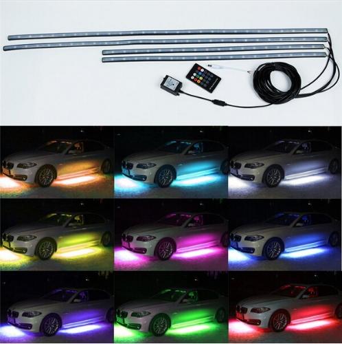"""36 """"* 2 e 48"""" * Kit LED de 2 cores com controle remoto sem fio RGB sob luzes de underlay Neon de carro"""