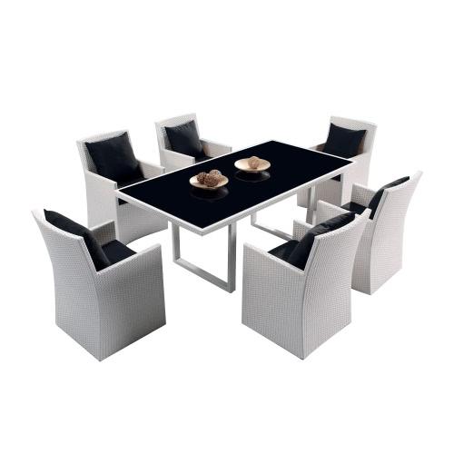 Ensemble Table et 6 fauteuils de jardin DOLCEZA en résine tressée