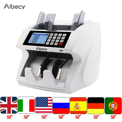 Aibecy Multi-Currency Money Cash Value Mix Counting Counter Counterfeit Detector