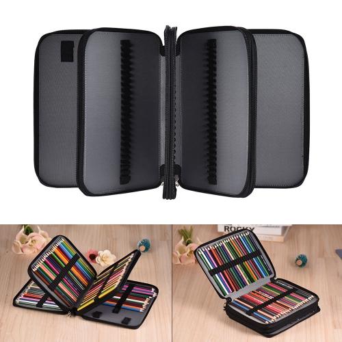 180 Slots Color Pencil Case Bolsa de capacidade extra grande PU Leather Zippered Portable with Handle Strap
