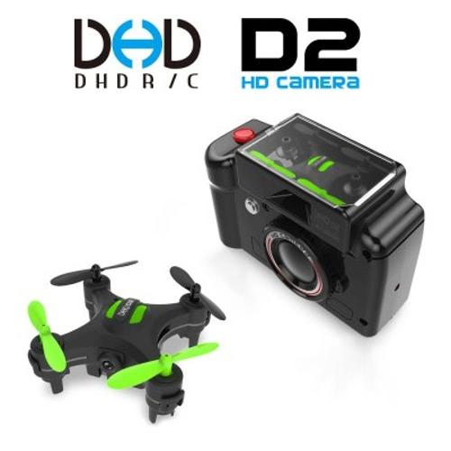 オリジナルDHD D2カメラ字型送信機と2.4G 4CH 6軸ジャイロワンキーリターンヘッドレスモードの3Dフリップ2MPカメラRTF RCクワッドローター