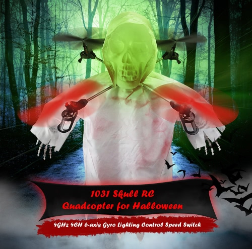 1031 Halloween Horrible Creepy Toothy Flying Ghost Head Skull RC Drone 2.4G 4CH 6-axis Gyro Headless Mode Quadcopter