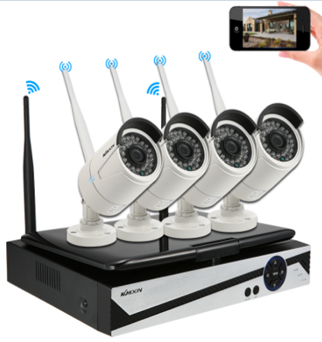 KKmoon 4 Kanal 720P Wireless WiFi NVR CCTV System Kit