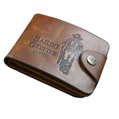 New Men's Boys' Classic Leather Pockets Credit/ID Cards Holder Purse Wallet (T-9877) photo