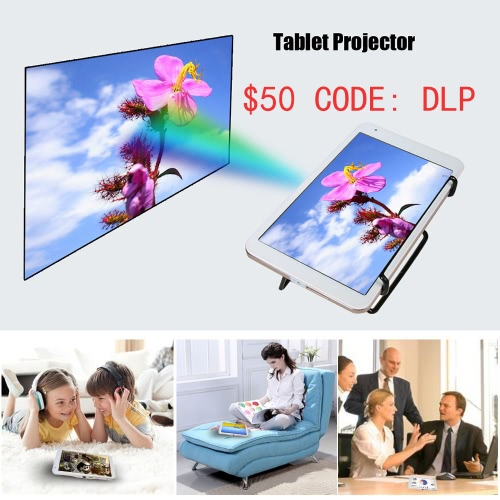 Q888 Tablet Projector 8Inch IPS Android Tablet PC + 50 Lumens DLP Projector Android 5.1.1 OS RK3288 Quad-core 2G / 32G 2 in 1 Multifunctional Projection Machine Supports WiFi BT 4.0 OTG 5500mAh Rechargeable Battery